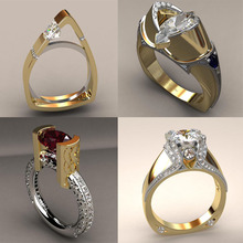 Zircon Stone Irregular Ring Unique Style Crystal Silver Gold Color Wedding Promise Engagement Rings For Women