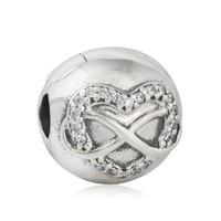 Authentic 925 Sterling Silver Infinity Tim Clip Stopper Tình Yêu Rõ Ràng CZ fit Hạt Châu Âu Charms Vòng Tay Trang Sức