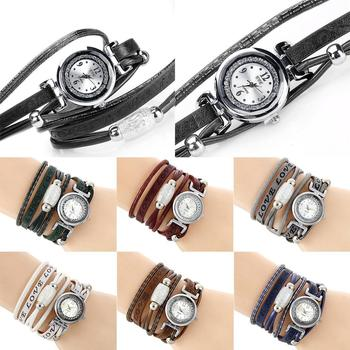 Band Watch Bangle Analog Bracelet Women Leather Quartz Wrist Fashion Synthetic New Round
