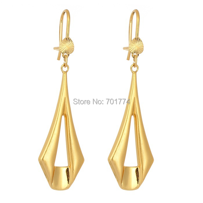 New Yellow Gold Plated Simple Signet Link Geometric Outline Drop Dangle Earrings For Womens S Fashion Jewelry Hot Gift In From