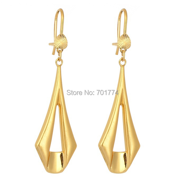 New Yellow Gold Plated Simple Signet Link Geometric Outline Drop Dangle Earrings For Womens S Fashion
