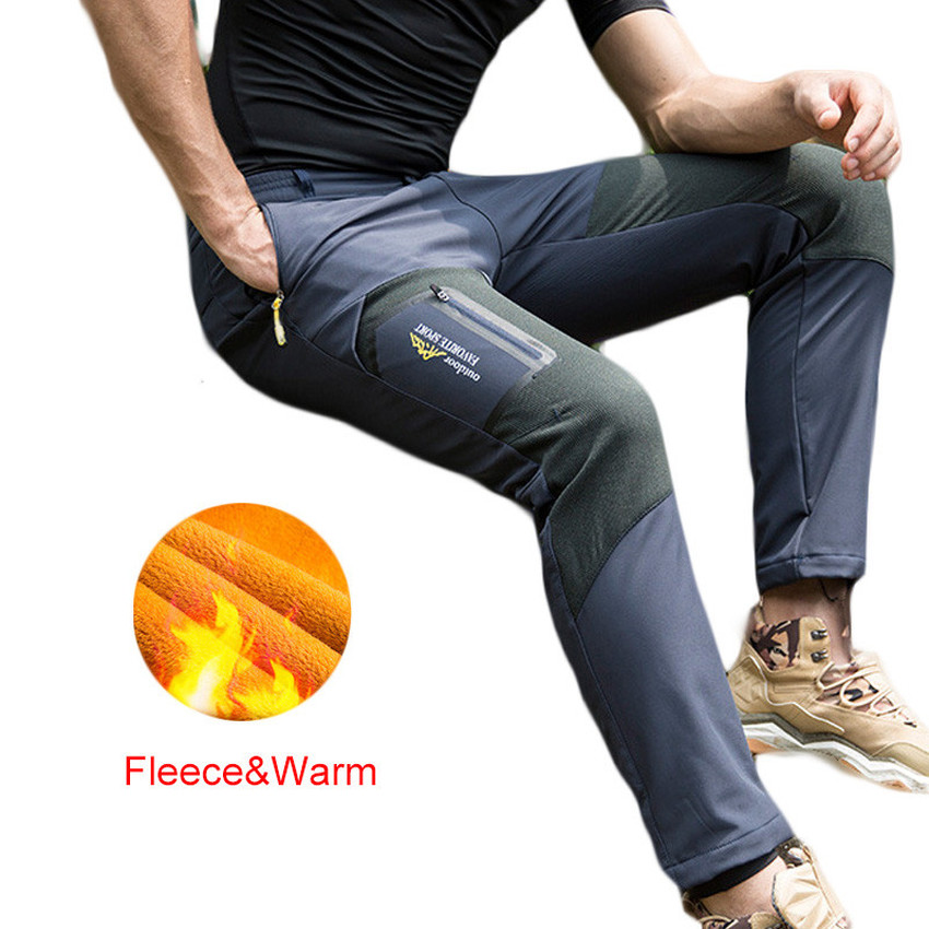 2018 Winter New Fleece softshell pants Men warm Hiking Pants Outdoor Trousers for Camping Ski Climbing men plus size 4xl 5xl 6xl 7xl 8xl 9xl winter pant sport fleece lined softshell warm outdoor climbing snow soft shell pant