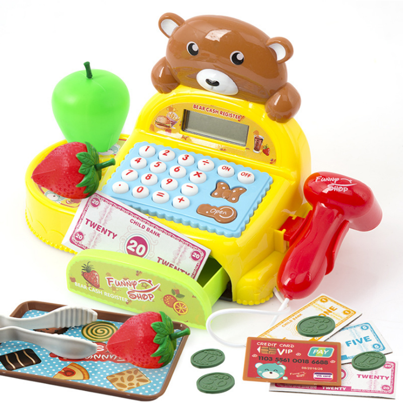 1 Set Electronic Cash Register Toy Pretend Play Children Simulation Cash Register Toys Supermarket Checkout Child Christmas Gift