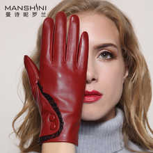 2018 Winter new arrival womens fashion sheepskin gloves genuine leather touch screen add velvet keep warm winter
