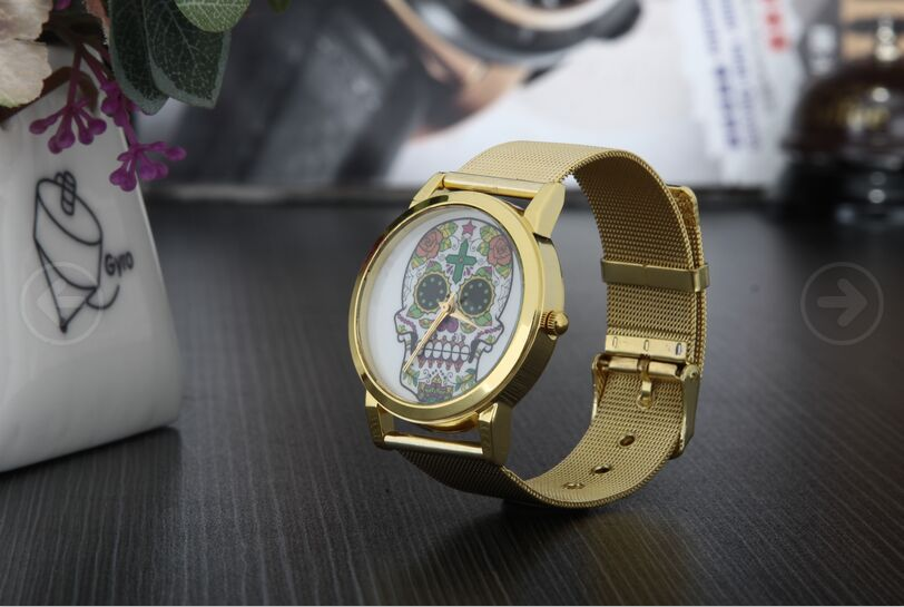 free shipping Luxury brands flower Skull Watches hot selling For Women men unisex Dress Watches Quartz Watch muhsein hot sellingnew lovers quartz watches stainless steel watch business women dress watches for couples free shipping