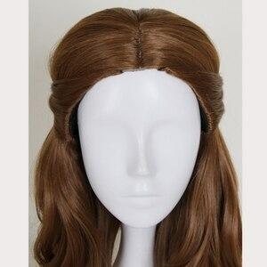 Image 4 - Perruque synthétique style princesse et la bête, coiffure synthétique longue ondulée brune, perruque princesse et la bête, déguisement pour jeu de rôle à la fête dhalloween