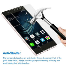 3pcs/Lot 9H Tempered Glass For Huawei P20 Pro P10 P9 P8 Lite Plus 2017 2015 Explosion Proof Screen Protector Film(China)