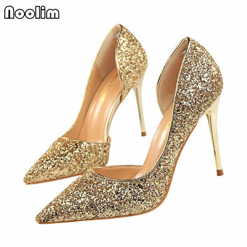 NOOLIM Women Pumps Sexy High Heels Women Shoes Thin Heels Female Shoes  Wedding Shoes Gold Sliver 3ac114741986