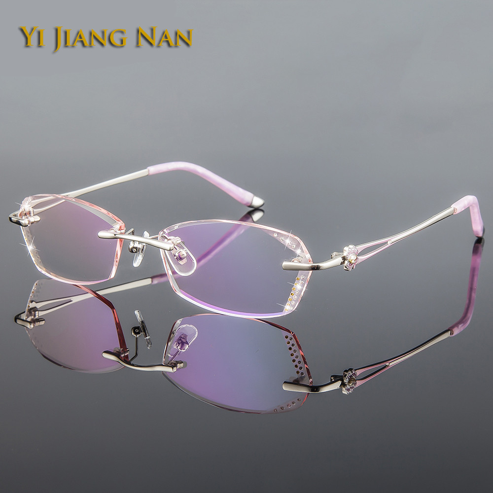 Yi Jiang Nan Brand Diamond Glasses Pure Titanium Women Prescription Fashion Colored Lenses Eyeglasses Female