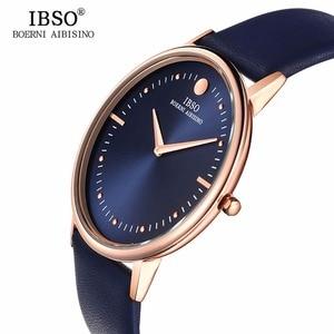 Image 2 - IBSO relojes de moda para hombre, 7,5 MM, ultrafinos, oro rosa, correa de cuero azul, analógico, de cuarzo, Masculino, 1615