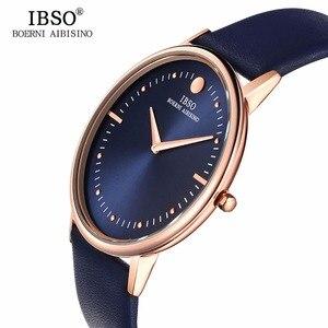 Image 2 - Nuovo IBSO Mens Moda Orologi 7.5 MM Ultra Sottile In Oro Rosa Orologi Blu Cinturino In Pelle Analogico Al Quarzo Orologi Relogio Masculino 1615