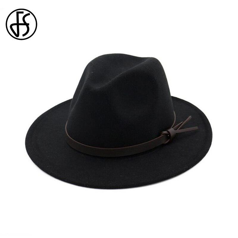 5c4f81f4b US $13.49 25% OFF|FS Vintage Black Fedora Hat Trilby Women Wool Felt Fedora  Wide Brim Autumn Winter Men Panama Hats Jazz Cap Chapeu Feminino-in ...
