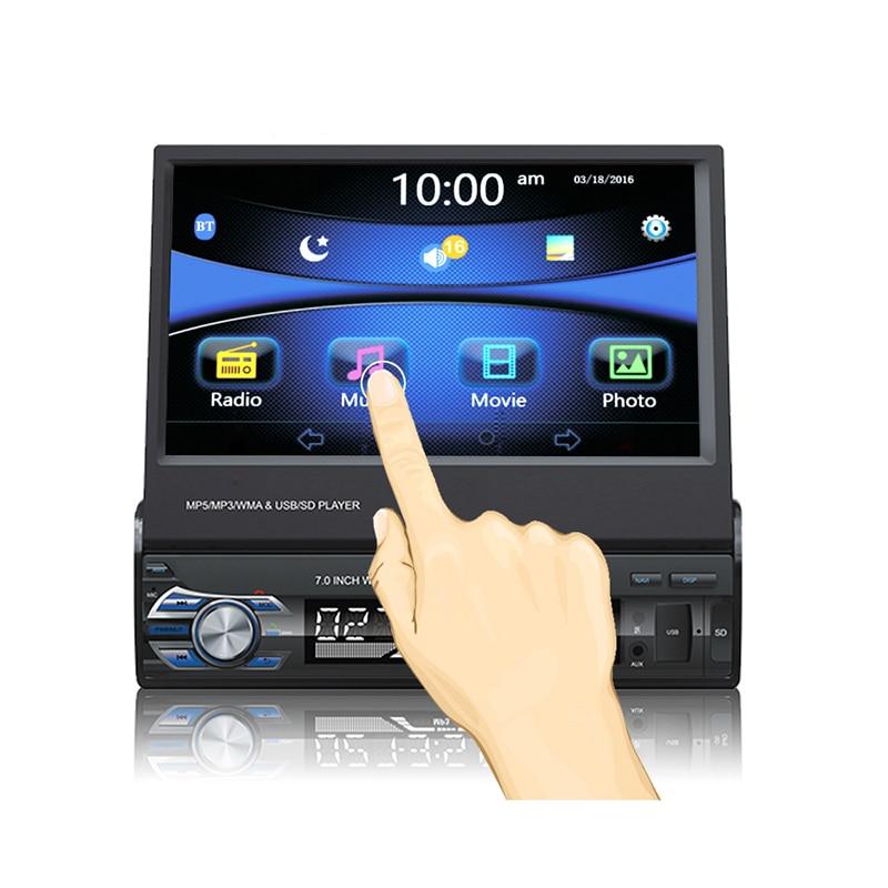 Autoradio 7 pouces 1DIN 12 V autoradio Bluetooth FM Radio MP5 lecteur Audio USB/TF carte Radio In-Dash 5 langues affichage du Menu