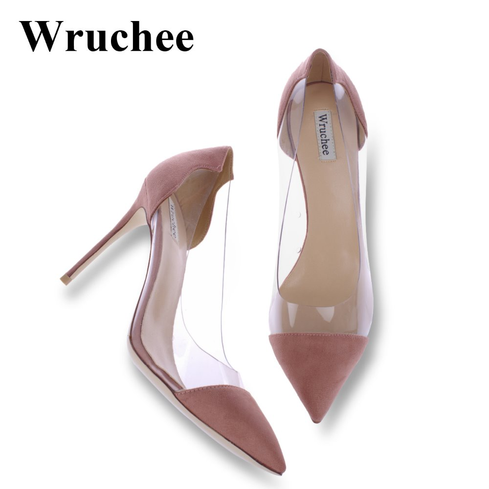 Wruchee partie d'été femme chaussures à talons hauts talons minces chaussures 10 cm transparent côté de mariage chaussures