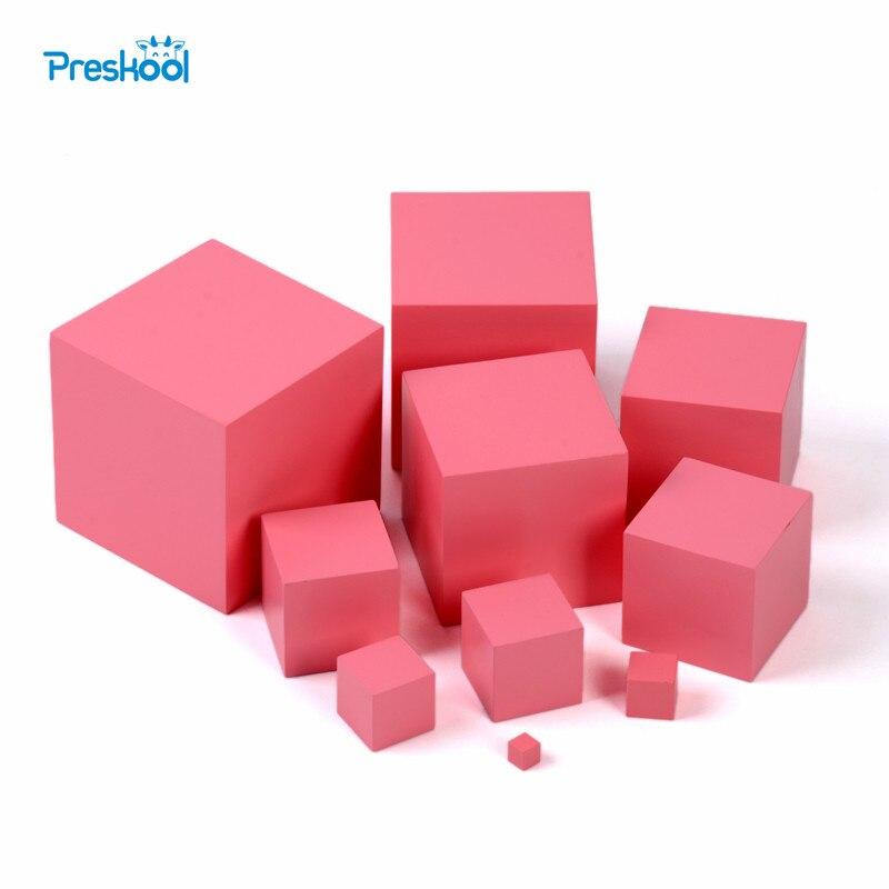 Montessori profesional torre rosa sin soporte 1 cm a 10 cm Educación Temprana Preescolar niños Juguetes Brinquedos Juguetes