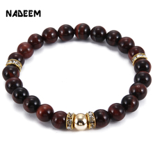 2017 New Arrival Mens Beaded Jewelry 8mm Red Tiger Eye Stone Crystal Charm Bracelets Party Gift Yoga Jewelry ND2502