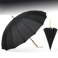 Long Umbrella 16K Color Men Large Windproof Business Wooden Handle Folding Umbrellas Women Brand Glassfiber