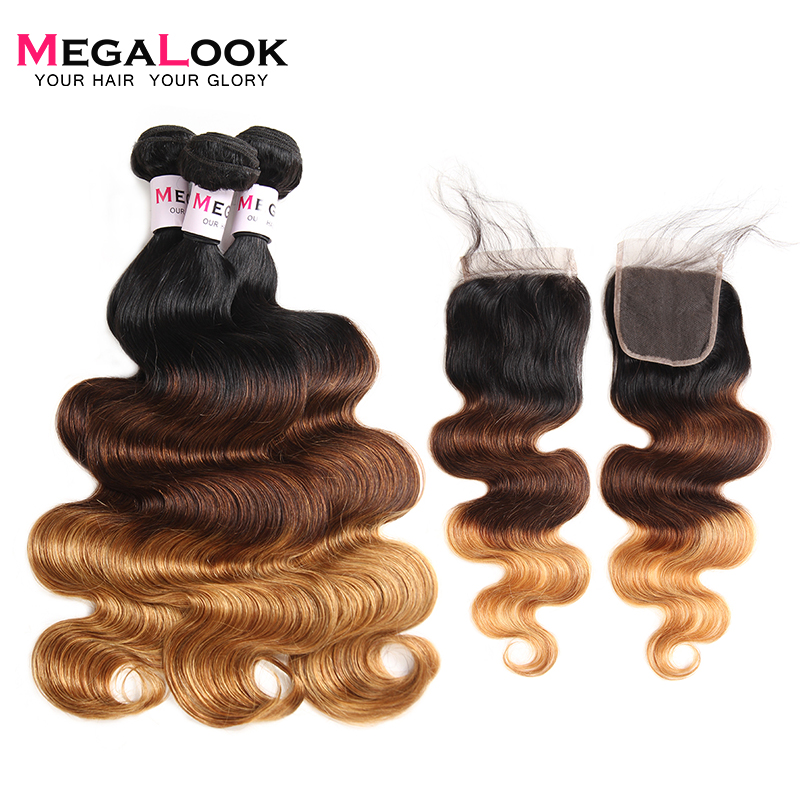 Megalook 1B 4 27 Body Wave Ombre Bundles with Closure Peruvian Remy Hair Bundles with Closure