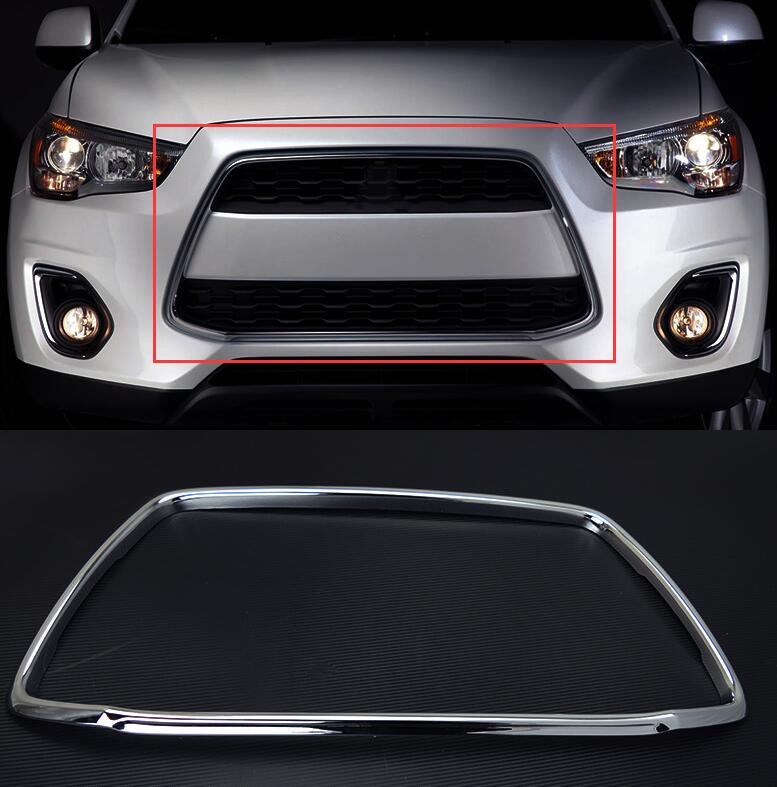 free shipping ABS Chrome Front Grill Grille Frame For Mitsubishi ASX/ 2013-2015 car-styling 2pcs kit accessory abs chrome grill grille frame cover for bmw x3 f25 2011 2015