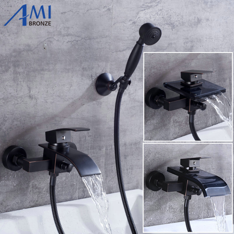 Black Brushed Luxury Bathroom Great Waterfall Bathtub Faucet Brass Mixer Glass Spout With Hand Shower Head