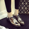 Japanned leather small leather female spring pointed toe fashion vintage rivet lacing thick heels shoes black