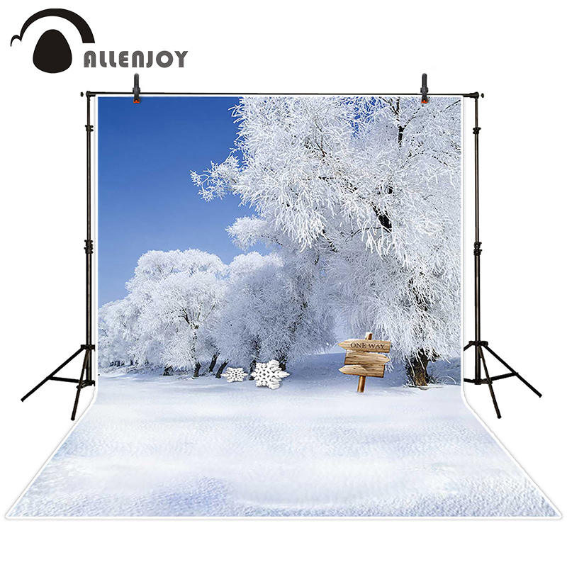 Allenjoy photographic background Signs sky snow tree backdrops baby wedding studio summer 5x7ft