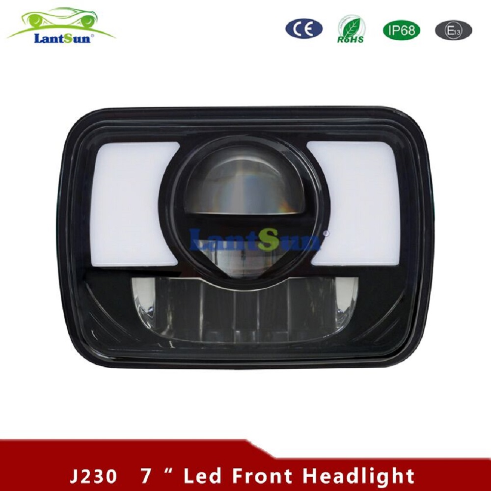 2pcs J230 5x7 Inch LED Rectangular Sealed Beam Headlights w/ Turn Signal High Low Replacement H6054 H6014 H6052