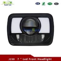 2pcs J230 5x7 Inch LED Rectangular Sealed Beam Headlights w/ Turn Signal High Low Replacement H6054 H6014 H6052 Lantsun