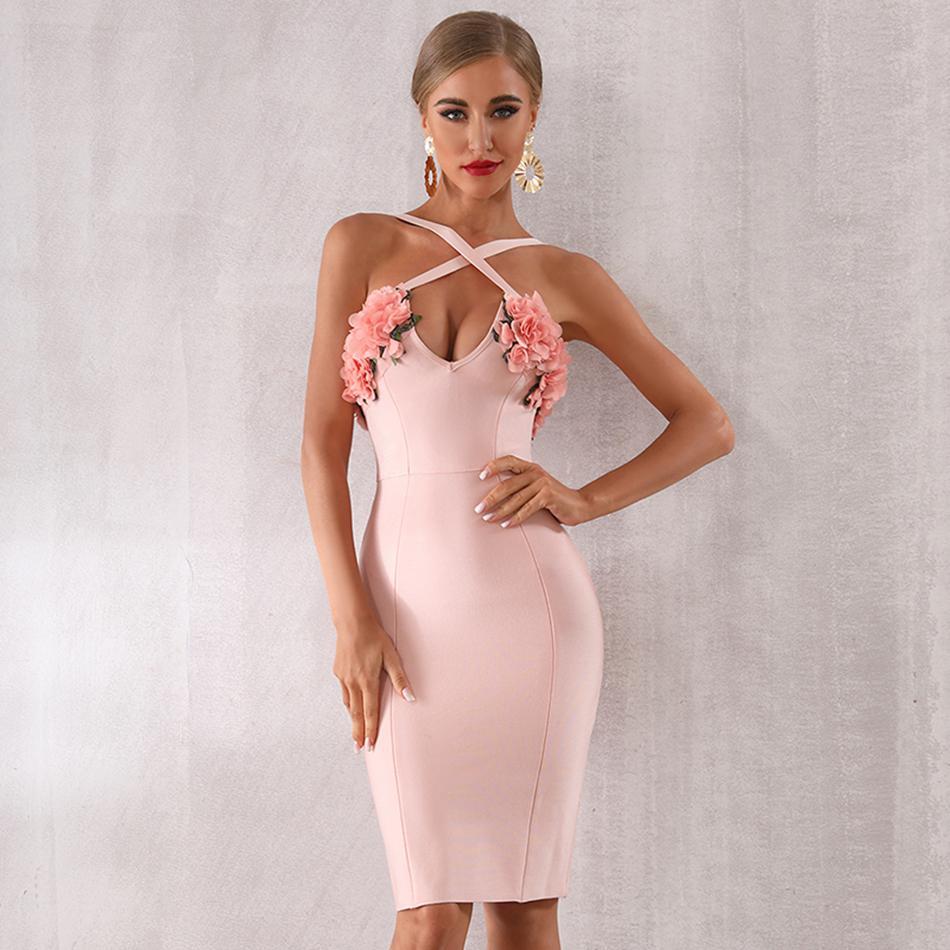 Date célébrité parti moulante Bandage robe femmes Spaghetti sangle v-cou Appliques Sexy soirée Club robe femmes Vestidos