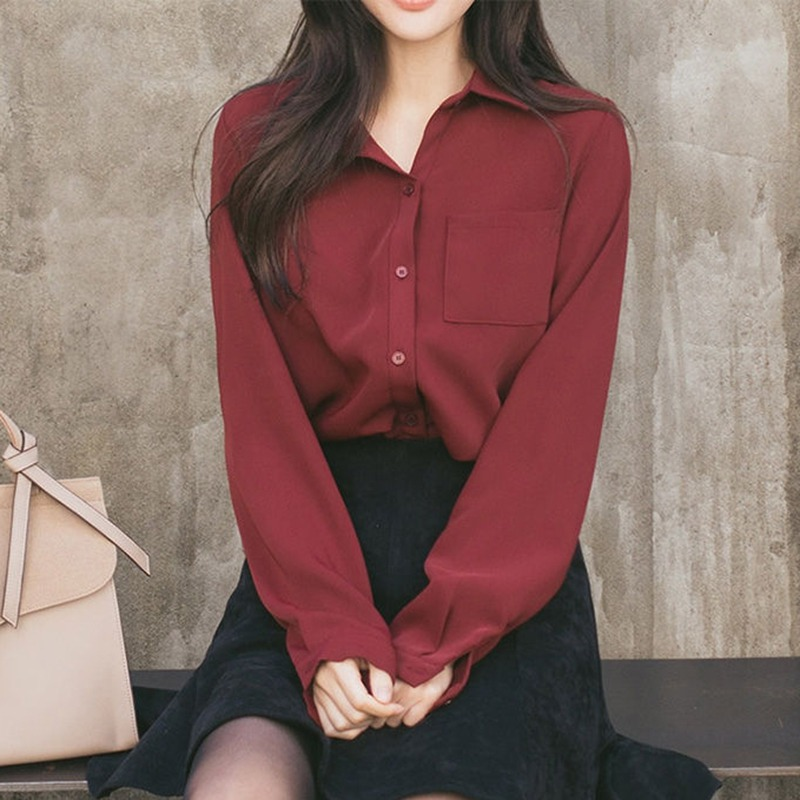 2019 Women Shirts Blouses Long Sleeve Turn-Down Collar Solid Ladies Blouse Tops OL Office Style