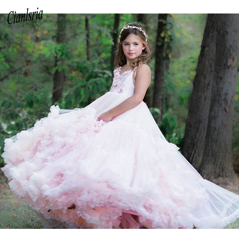 Pink Cloud   Girls   Birthday   Dress   Spaghetti Strap Lace Up Back Tiered Tulle   Flower     Girl     Dress   for Wedding Long Toddler Party Gowns