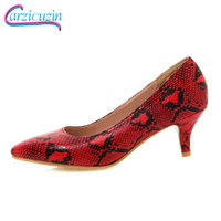 RIZABINA Plus Size 32 48 New Women High Heel Shoes Serpentine Pointed Toe Woman Pumps Fashion Sexy Print Shallow Shoes Women