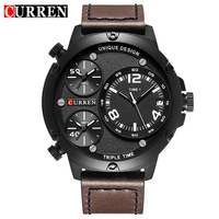 Relogio CURREN Top Brand Luxury Mens Watches Male Leather Three Time Zone Clocks Sport Military Clock