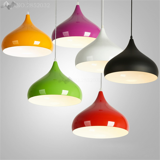 JW Modern Colorful Aluminium Pendant Light DIY Hanging Lamp Shade E27 Socket Fixture Lumiere
