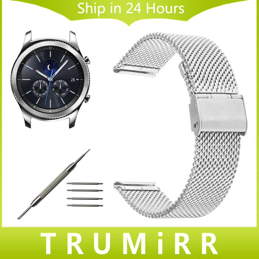 22mm Milanese Watchband Stainless Steel Strap for Samsung Gear S3 Classic / Frontier Garmin Fenix Chronos Watch Band Wrist Belt for garmin fenix chronos solid stainless steel watchband 22mm black gold metal band replacement smart watch bracelet