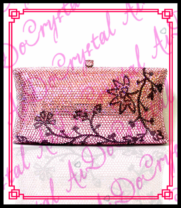Aidocrystal Pretty new style pink leaf flower pattern crystal font b clutch b font bags for