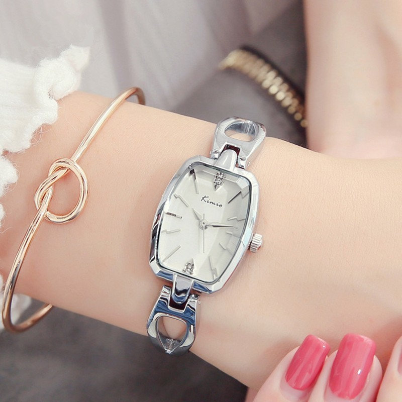 KIMIO Retro Tonneau Damklocka Kvinnor Rektangel Hål Klockor Klockor Quartz Armband Klockband Stil Märke Rose Gold Watch