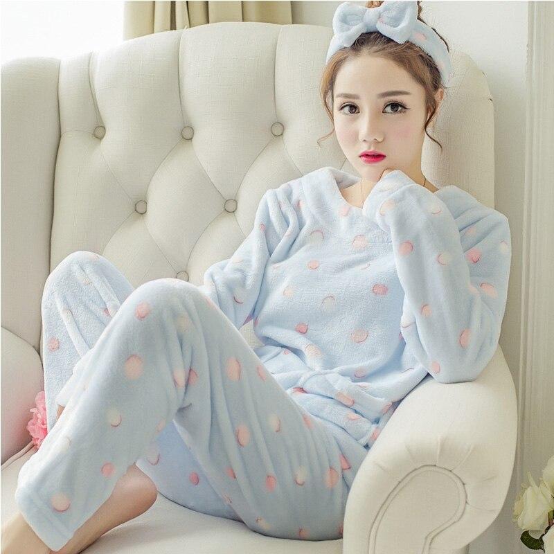 Women Flannel   Pajamas     Set   Winter Cartoon Anime Rabbits Sleepwear Home Clothes Girls Full Sleeve Pijamas Suits Cute Pijamas Suit