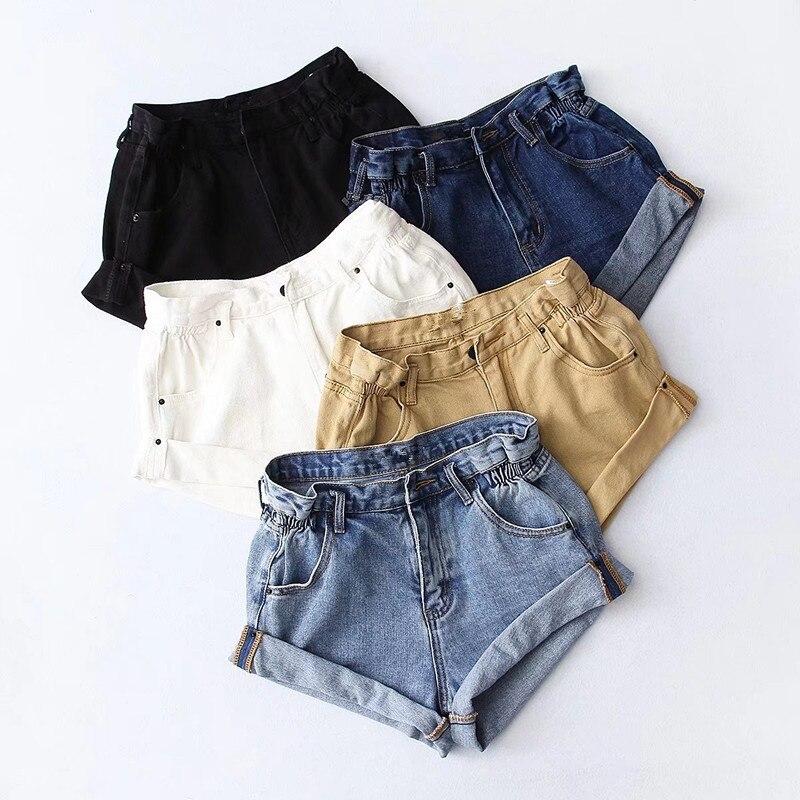 2019 Summer Europe and America Women Casual Jeans   Shorts   Harajuku High Waist Edge Blue Denim   Shorts   Vintage Solid   Shorts