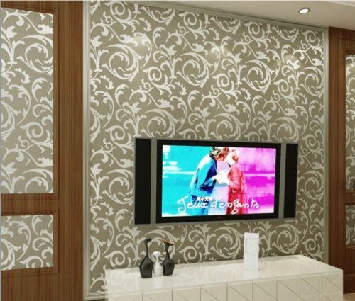 ФОТО Q QIHANG High-grade Flocking Damasco Wallpaper Roll Khaki Color 0.53m*6.2m=3.28m2