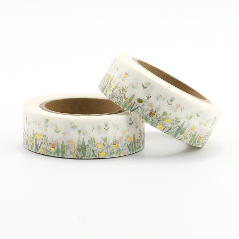 2 Pcs Cute Floral And Leaves Foil Washi Tapes Japanese Paper 1.5cm*10m Scrapbooking Masking Tapes Photo Album Decorative Tapes