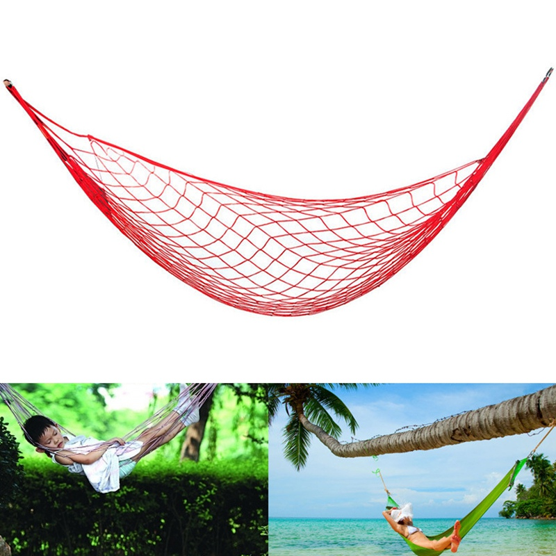 Camping & Hiking Portable Garden Nylon Hammock Swinghang Mesh Net Sleeping Bed Hamaca Outdoor Travel Camping Hamak Blue Green Red Hamac