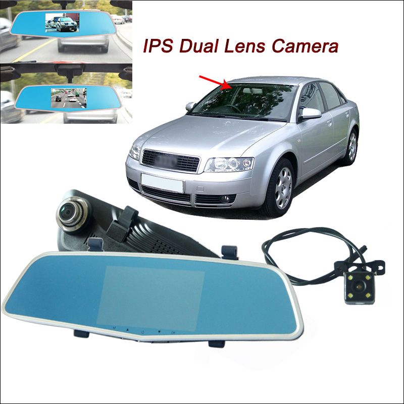BigBigRoad Car DVR For Audi A4 B6 Rearview mirror video recorder Dual Camera Novatek 966 ...
