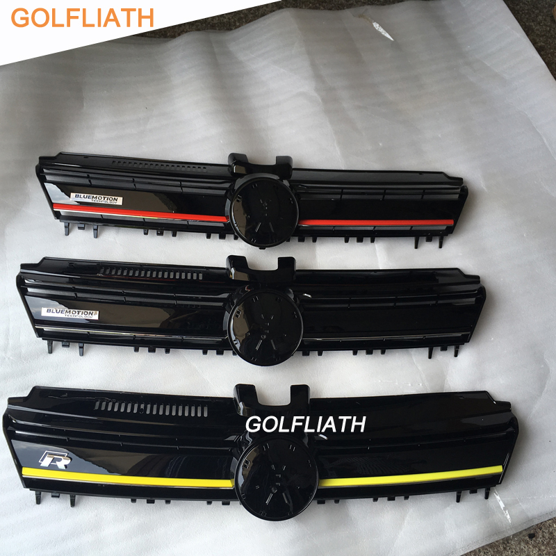 GOLFLIATH For Golf 7 ABS Auto Car front Bumper mesh grille bluemotion grill fit for Volkswagen Golf MK7 GTI R 2015-2017 gti 16v grille emblem rhino tuning for vw golf mk2 mk1 gti 16v car grille grill badge golf matt chrome 3d abs badge car styling