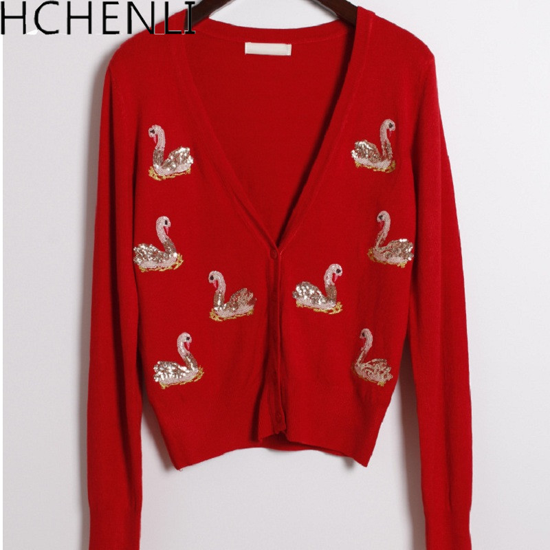 HCHENLI 2017 Ladies Flamingo Sequin Cardigan Women Knitwear Lady Short Knitted Sweater Sweaters O Neck Clothing