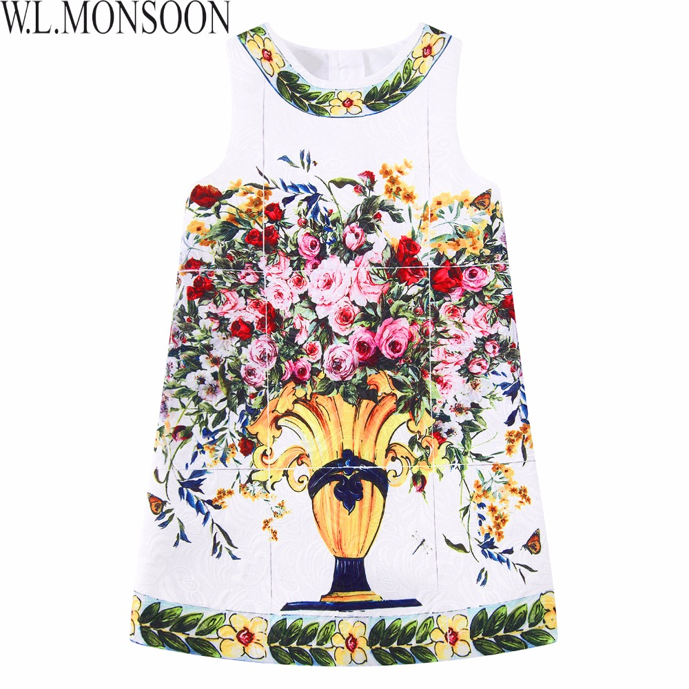 W.L.MONSOON Kids Dresses for Girls Clothing 2017 Brand 'Vaso Fiori' Flower Girl Dress Children Clothes Robe Fille Princess Dress for hp 920 ink cartridge for hp920 920xl officejet 6000 6500 wireless 6500a 7000 7500 7500a printer