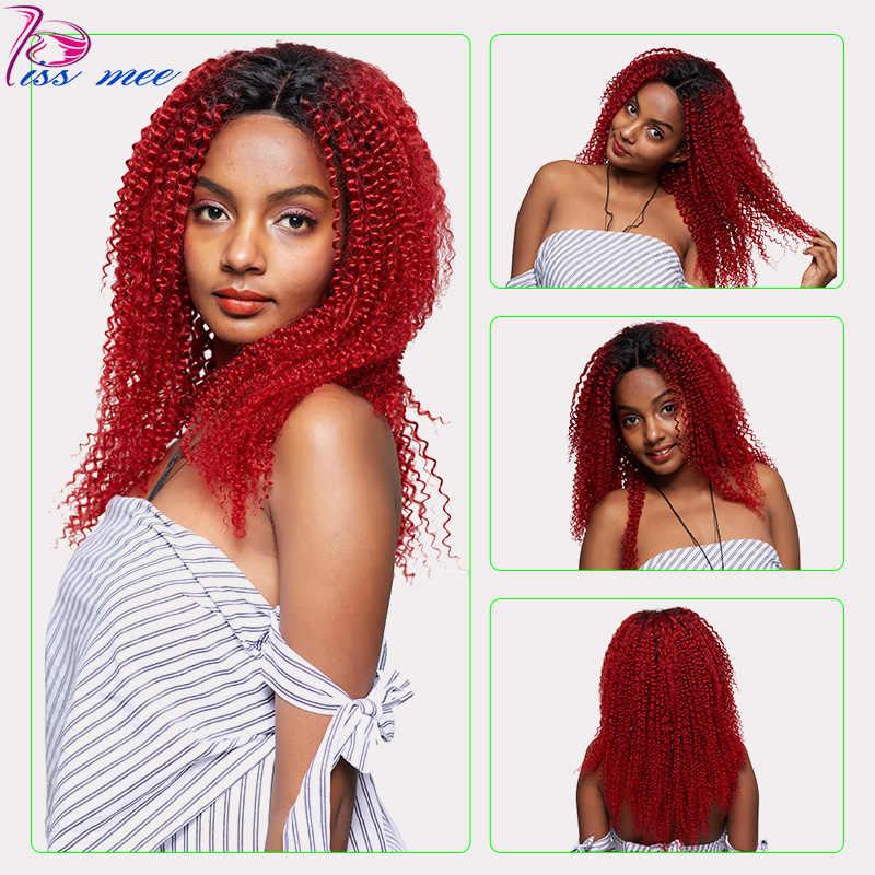 KISSMEE кудрявый парик # 1B/красный бордовый синтетические волосы на кружеве Искусственные парики для черный для женщин бразильский волосы remy 10-32 дюйм(ов) вьющиеся