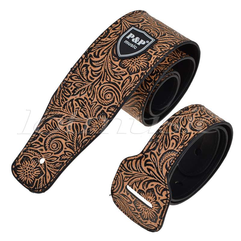 Padded Guitar Strap Leather Embossed Adjustable For Acoustic Electric Guitar Bass polyester and nylon guitar strap for acoustic electric guitar and bass multi color guitar belt s008