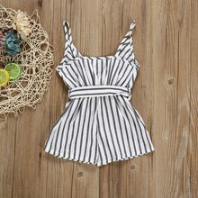 цена на Summer Casual Fashion Cotton Children's Jumpsuit Girls Striped Suspender Kids Backless Bow Rompers Baby Girl Clothes