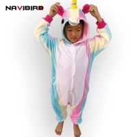 Children Animal Rainbow Cosplay Unicorn Pajama Winter Flannel Pyjamas Women Hooded Onesie For Kids Halloween Costume